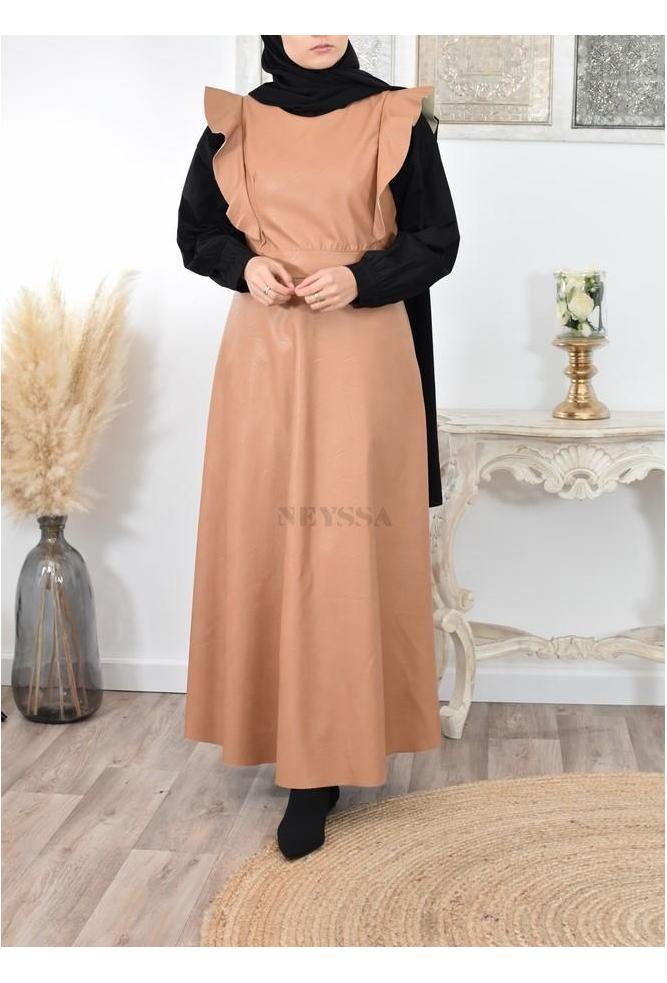 Robe longue simili cuir pas cher