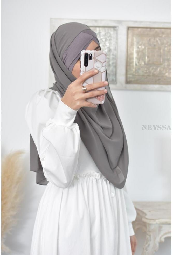 Hijab prêt à enfiler double croisé pas cher