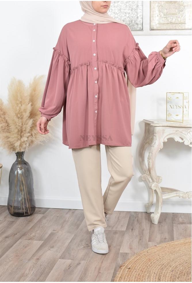 Tunique chemise manches bouffante pas cher