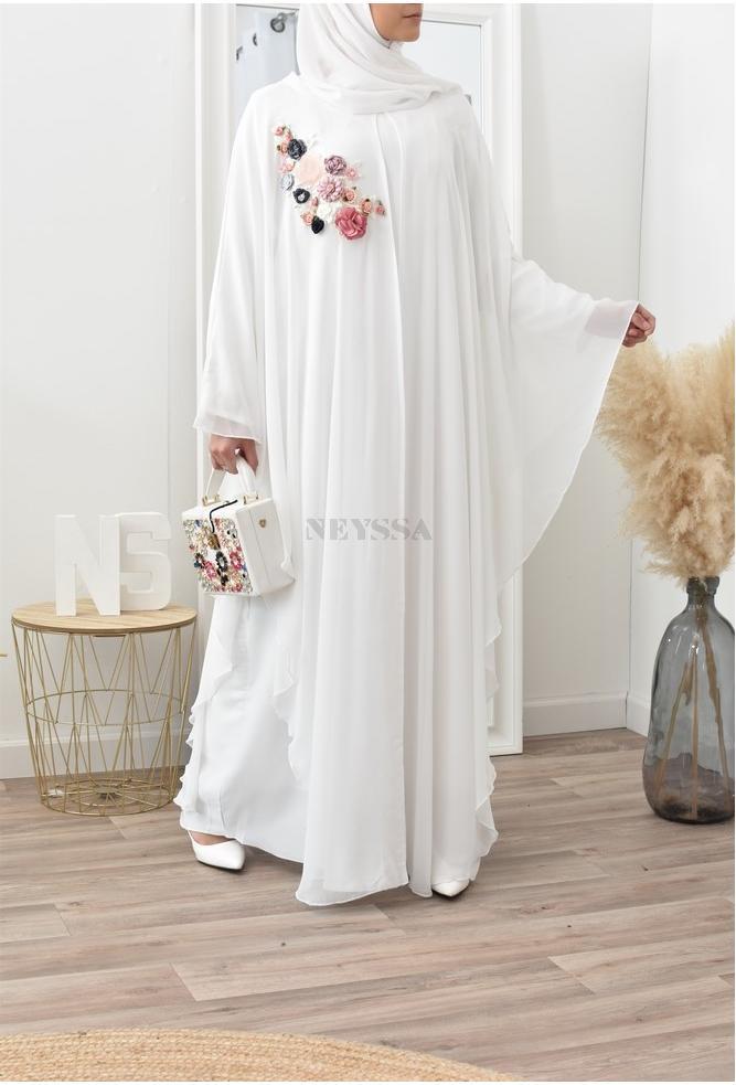 Combo abaya butterfly white