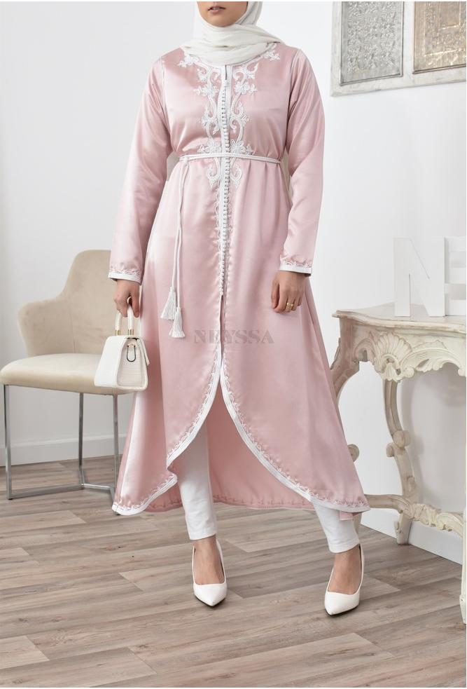 Kimono ouvert caftan coupe évasée Rose