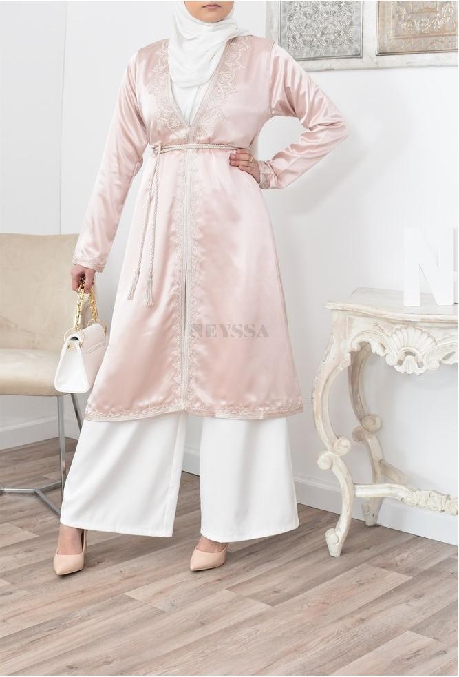 Kimono caftan coupe droite avec broderie