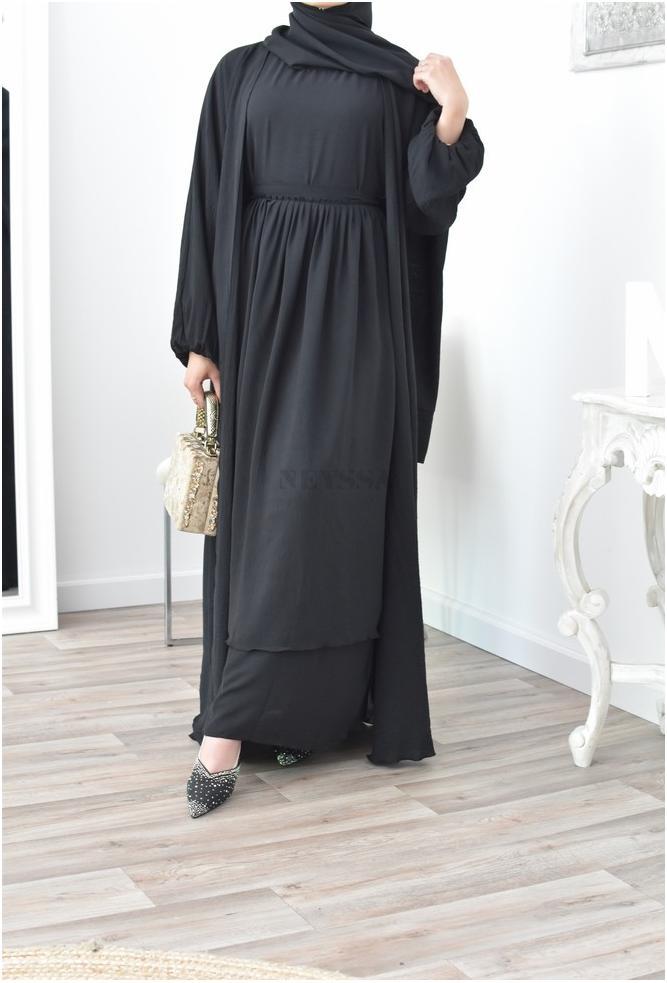 Ensemble abaya Oman Noire 4 pièces pas cher