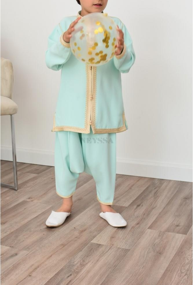 Water Green Boy's Aladdin Outfit Perfect for Eid