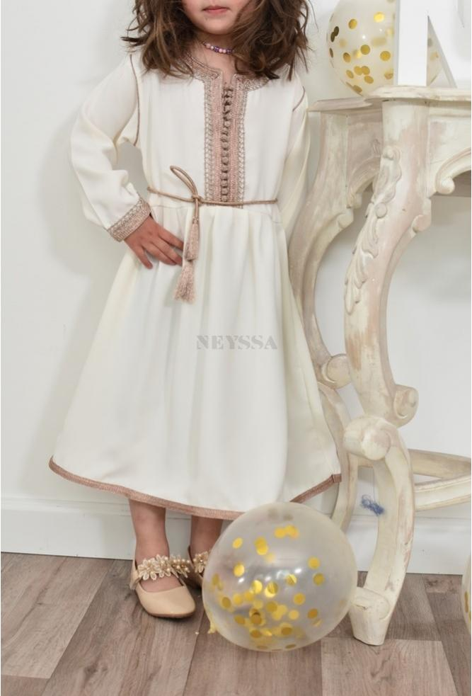 Petite Fille Off White Caftan Dress perfect for Eid