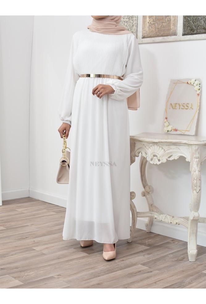 Pleated bust dress with muslin Kamelina