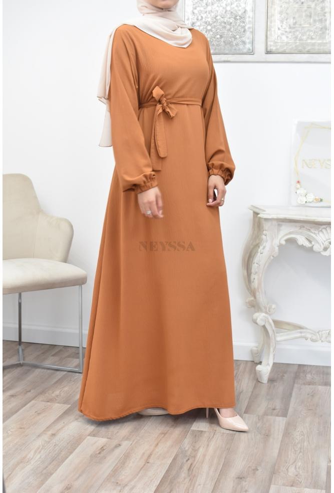 Abaya longue évasée fluide pas cher
