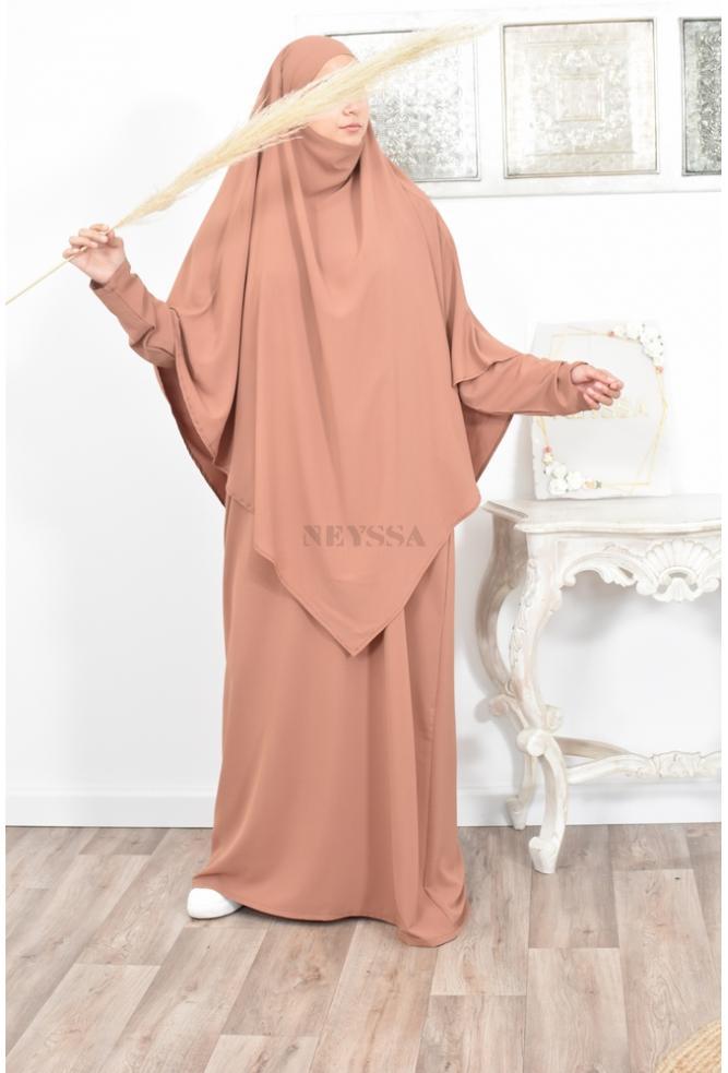 Jilbab femme 2 pièces soie de Medine tenue de prière de la femme musulmane