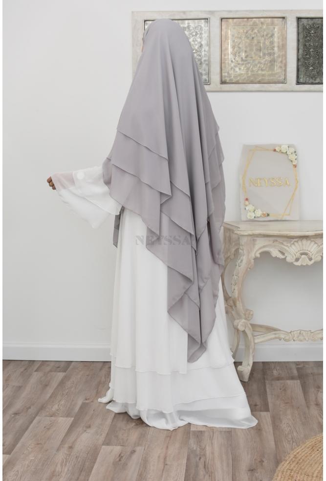 Khimar long 3 voiles mousseline hijab légiféré
